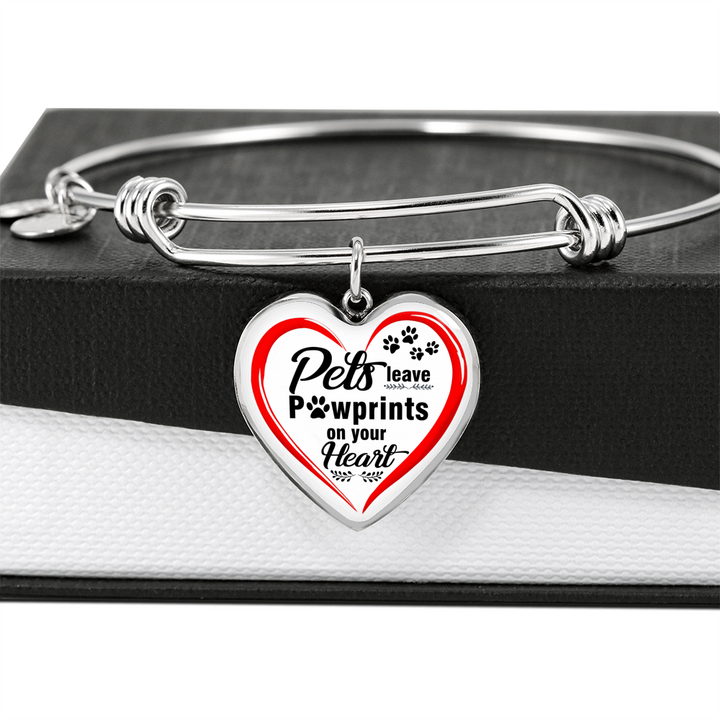 Jewelry - Pets Leave Pawprints On Your Heart Bangle