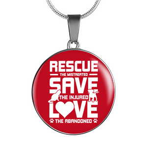 Rescue Save Love - Pendant Necklace - Our Pet Card