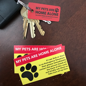 Pet Home Alone Cards - 2 Pet Care Cards + 1 Key Tag