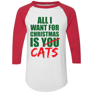 T-Shirts - All I Want For Christmas Is Cats - 3/4 Sleeve