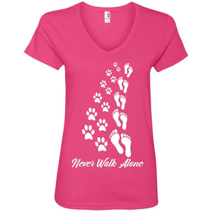 Never Walk Alone - Ladies V Neck - Our Pet Card