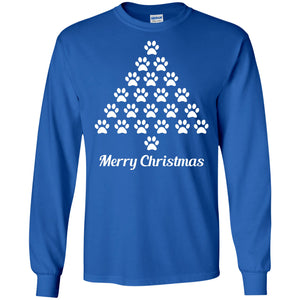 T-Shirts - Paw Print Christmas Tree - Long Sleeve
