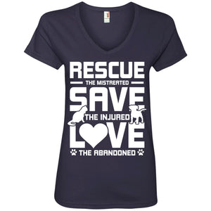 Rescue Save Love - Ladies V Neck - Our Pet Card