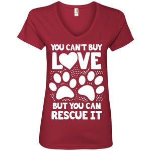 You Can't Buy Love - Ladies V Neck - Our Pet Card