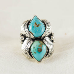 Turquoise Feather Ring (B) ◇ Royston Turquoise ◇ Size 7.5