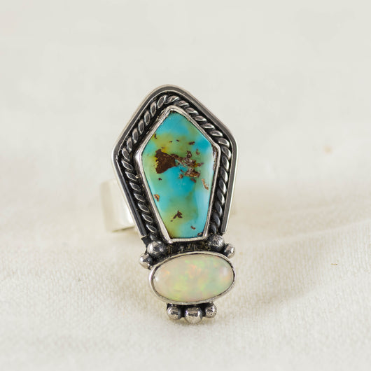 Earth & Sky Ring (C) ◇ Turquoise + Opal ◇ Size 7