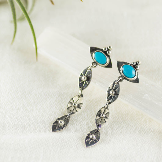 Ancient Wisdom Dangle Stud Earrings ◇ Kingman Turquoise