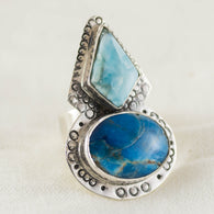 Moonlit Shore Ring ◇ Larimar + Blue Apatite ◇ Size 8