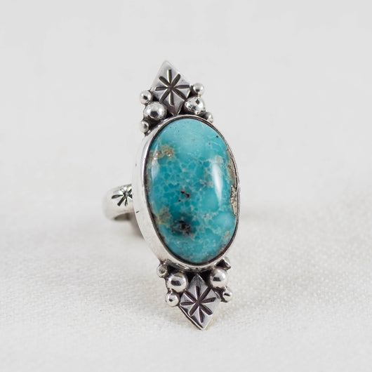 Star Shadow Ring (B) ◇ Campitos Turquoise ◇ Size 5