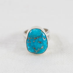 Turquoise Nugget Wide Band Ring (A) ◇ Sleeping Beauty Turquoise ◇ Size 6