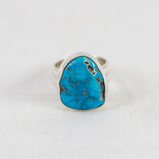 Turquoise Nugget Wide Band Ring (C) ◇ Sleeping Beauty Turquoise ◇ Size 6