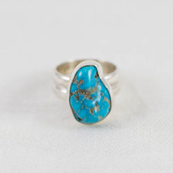 Turquoise Nugget Wide Band Ring (D) ◇ Sleeping Beauty Turquoise ◇ Size 7.5