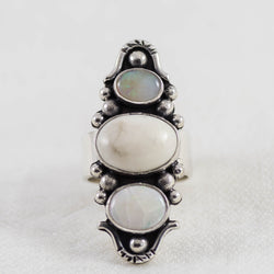 Ivory Totem Ring ◇ Australian Opal + White Howlite ◇ Your Size