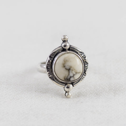 New Moon Ring ◇ White Howlite ◇ Your Size