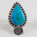 Inner Eye Ring (A) ◇ Old Mine American Turquoise ◇ Size 8
