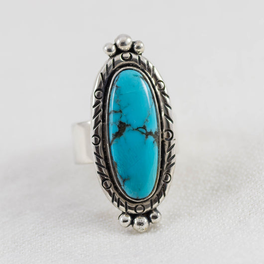 Compass Ring ◇ Kingman Turquoise ◇ Size 7.5