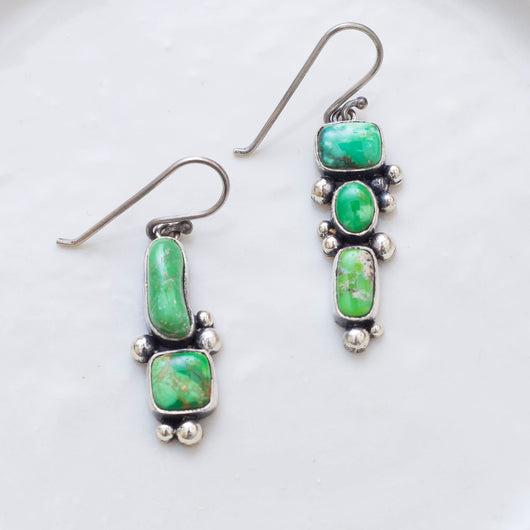 Asymmetrical Stone Earrings (A) ◇ Carico Lake Turquoise