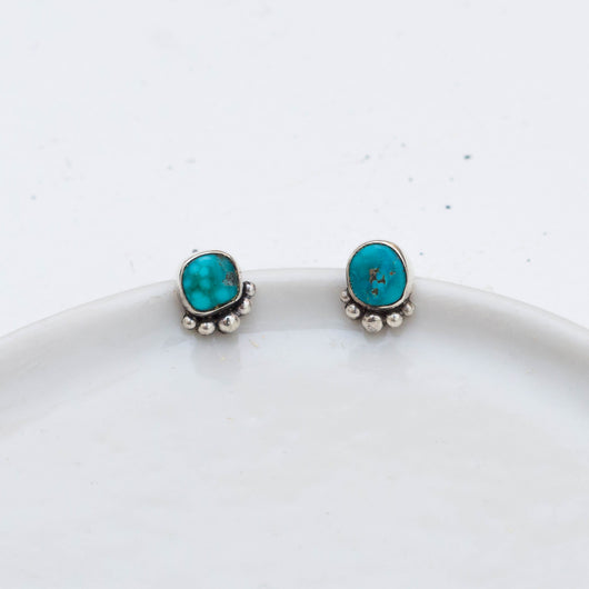Turquoise Stud Earrings (F) ◇ Whitewater Turquoise