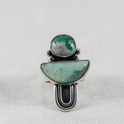 Journey Ring ◇ Lucin Variscite + Green Opal ◇ Size 6