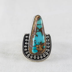 Rising Tides Ring (A) ◇ Royston Ribbon Turquoise ◇ Size 8.5