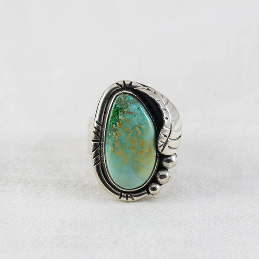 Small Feather Ring ◇ Royston Turquoise ◇ Size 5