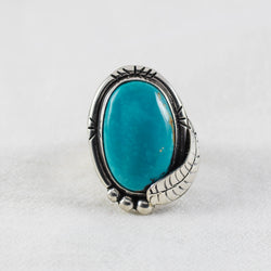 Turquoise Feather Ring ◇ Royston Turquoise ◇ Size 7