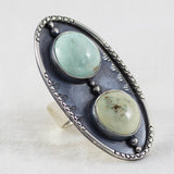 Shield Ring ◇ Desert Turtle Variscite  ◇ Size 8