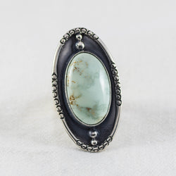 Small Shield Ring ◇ Desert Turtle Variscite  ◇ Size 7.5