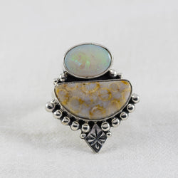 Coral Skies Ring ◇ Australian Opal + Fossilized Coral ◇ Size 7.5