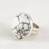 Full Moon Ring (B) ◇ White Howlite ◇ Size 7.5