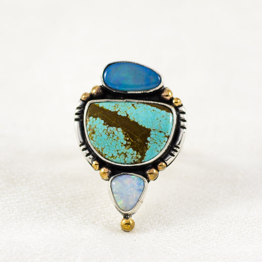 Spectrum Ring ◇ Australian Opal + Number Eight Turquoise ◇ Size 7