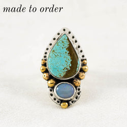 Day Dreamer Ring ◇ Number Eight Turquoise + Australian Opal