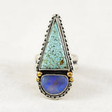 Day Dreamer Ring (B) ◇ Number Eight Turquoise + Australian Opal ◇ Size 7.5