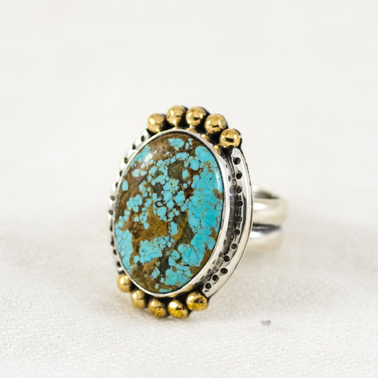 Crowned Ellipse Ring ◇ Number Eight Turquoise ◇ Size 7