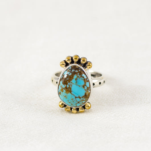 Petite Prisms Ring ◇ Number Eight Turquoise ◇ Size 6