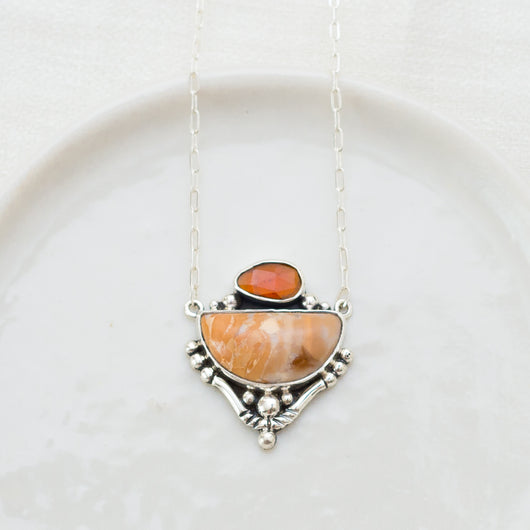 Canyon Rose Necklace ◇ Hessonite Garnet + Banded Opal