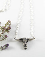 Sacred Skull Necklace w/ Herkimer Diamond Quartz