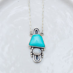Arc Necklace ◇ Royston Turquoise + Australian Opal