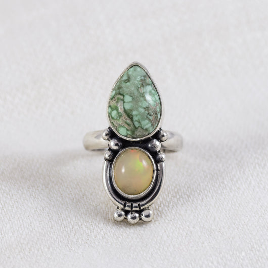 Duo Ring (A) ◇ Green Variscite + Ethiopian Opal ◇ Size 6