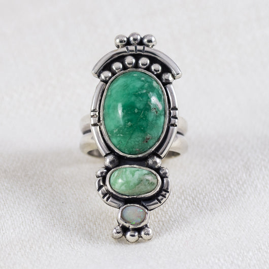 Majesty Ring ◇ Green Variscite + Australian Opal ◇ Size 7.5