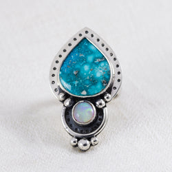 Radiance Ring (C) ◇ Campitos Turquoise + Australian Opal ◇ Size 6