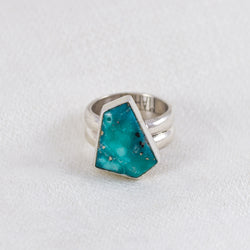 Turquoise + Pyrite Geo Ring (C) ◇ Campitos Turquoise ◇ Size 6