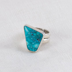 Turquoise + Pyrite Geo Ring (D) ◇ Campitos Turquoise ◇ Size 5.5