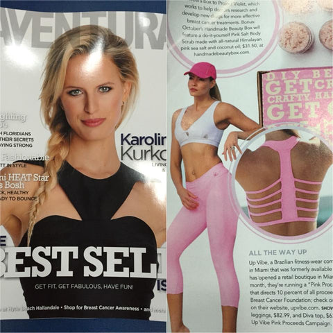Up Vibe fitness wear diva top in pink at Aventura magazine