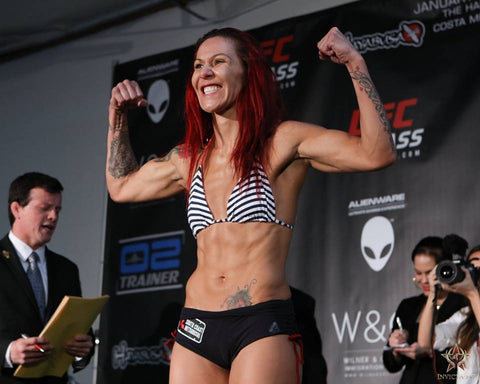 UFC Fighter Cris Cyborg wearing Up Vibe top and shorts at the weight in