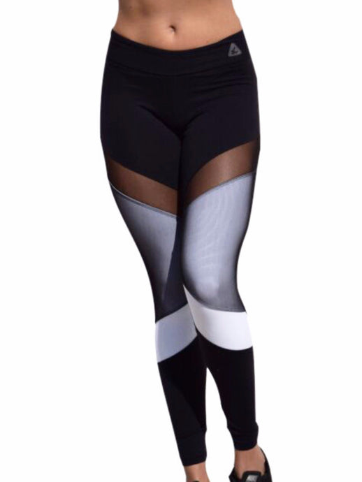 Fashion workout wear Mila mesh long tight fuso leggings in basic colors black and white front mesh a small part see through and mostly under a white panel stretchy and very soft material with waistband close-fitting