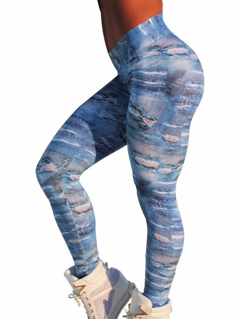 Best seller denim blue jeans faux printed fuso leggings full-length waist band booty shaping close-fitting