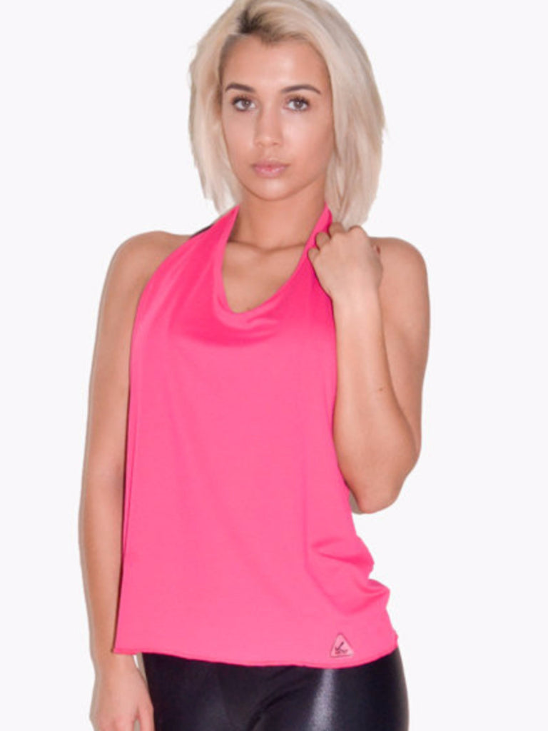 Fashion workout clothes halter tela mesh tank in color pink offers maximum breathebility