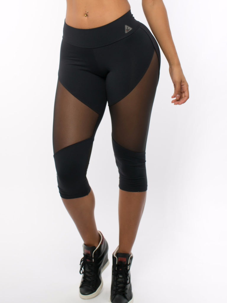 Diva Mesh Capri Leggings Black