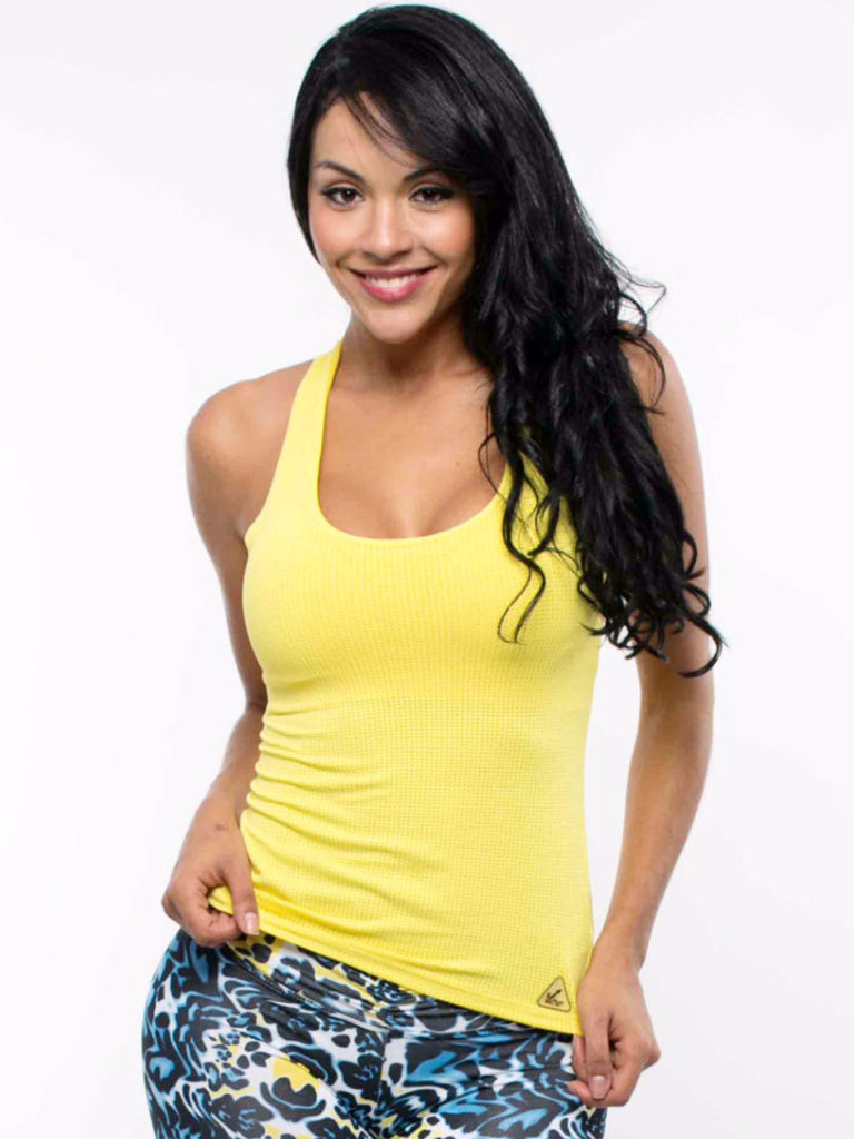 Women's workout wear tela mesh tank in color yellow dries fast material Supplex blended with Lycra